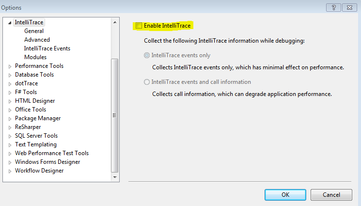 Disable IntelliTrace in Visual Studio 2012