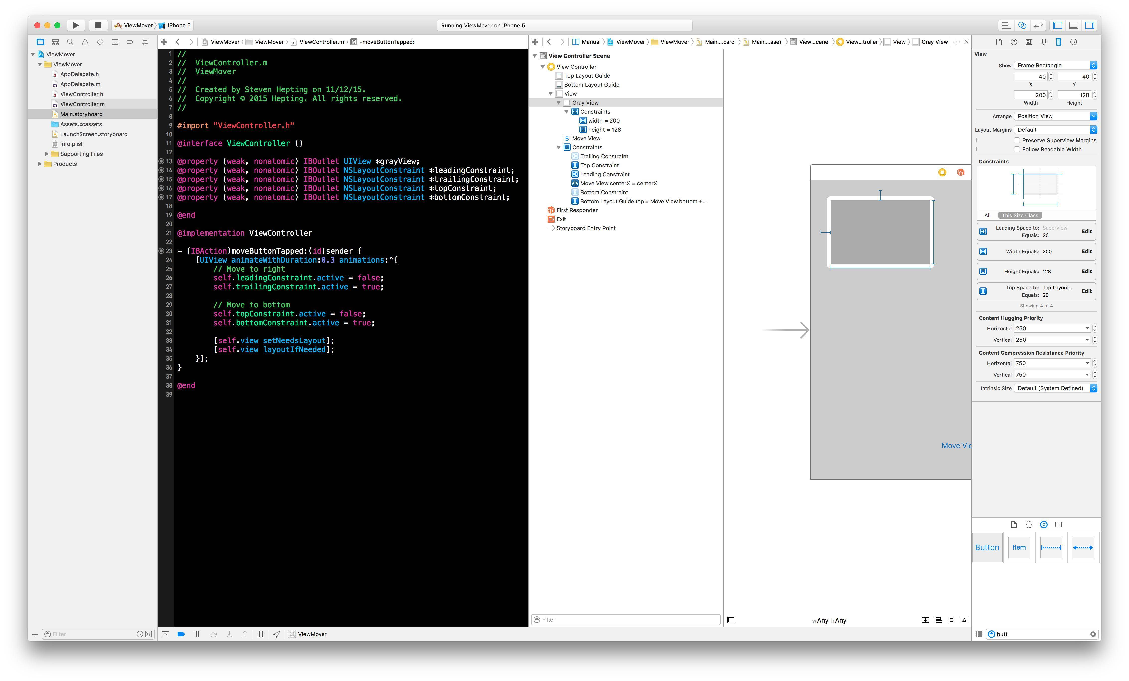 Xcode Project so sample animation project.