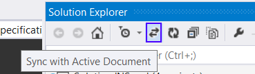 Sync with Active Document Button in VS2013 - Solution Explorer