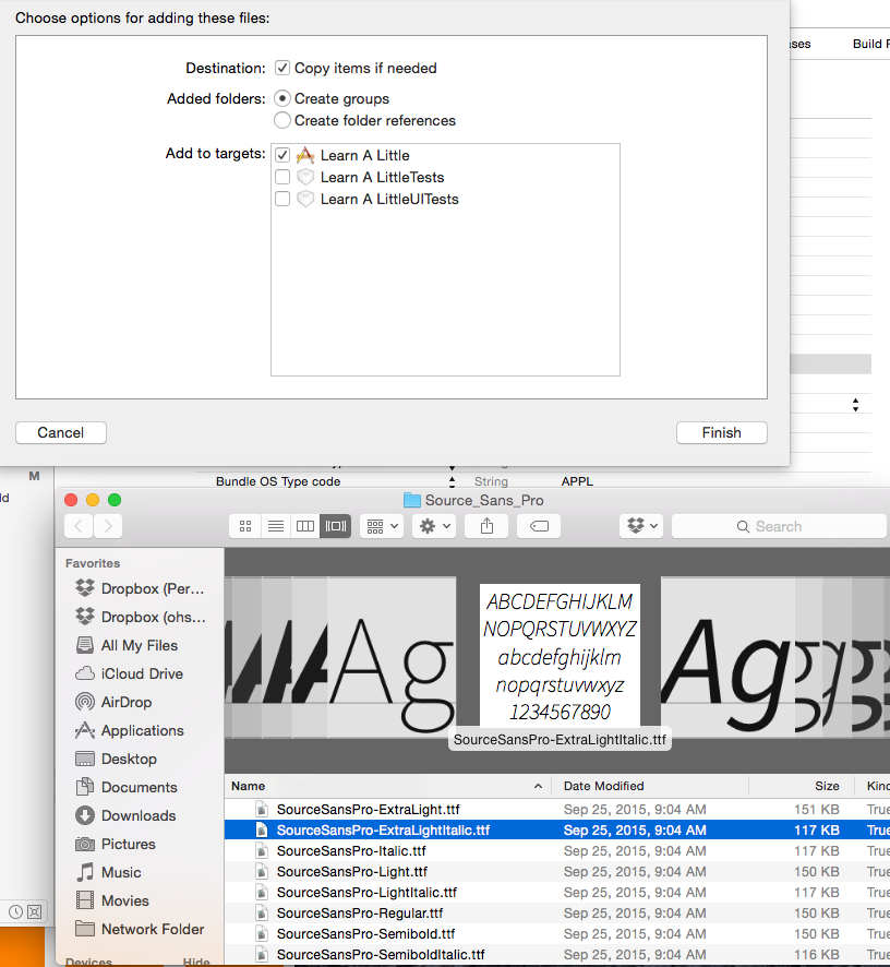 Drag font files into your project and click to add them to your target