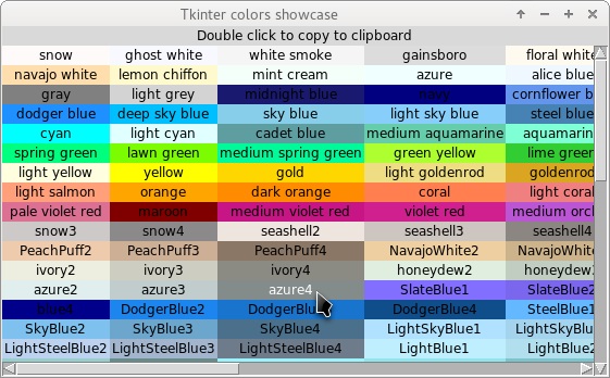 Tableau des couleurs pour Tkinter et Tix